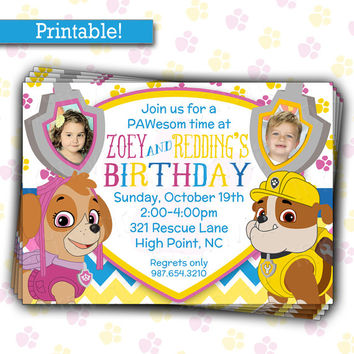 Paw Patrol Birthday Party Invitation | Skye & Rubble | Twins or Siblings Joint Birthday | DIY Printable Picture Invitation