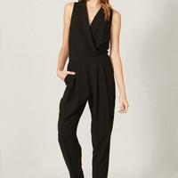 Suit Up Tuxedo Style Long Jumpsuit - Black