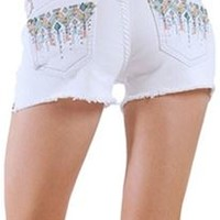 Grace in LA White Jean Shorts with Tribal Rain Pockets JHW-5853