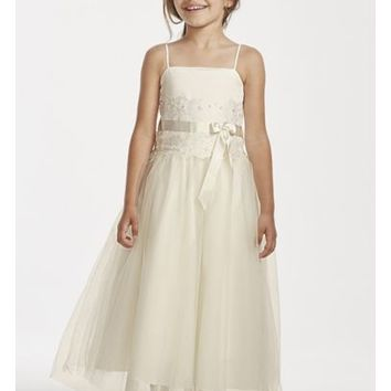 Flower Girl Lace and Tulle Spaghetti Strap Dress - Davids Bridal
