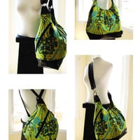 Over Shoulder Pack Bag- XL Book Bag- Best Backpack- Turquoise, Green, Yellow Print