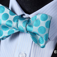 E813 BLUE DOT Cotton Blend Men Gravata Classic Wedding Bow Tie, Butterfly Self T