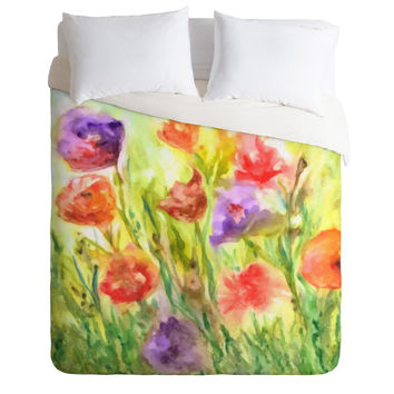 Rosie Brown Summer Flowers Duvet Cover