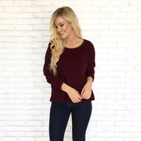 Soft Surprise Sweater Top in Wine