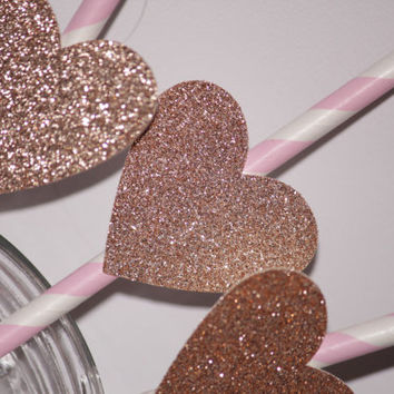 Heart Straw Toppers, gold glitter heart, light pink straws, striped, paper straws, bridal shower, baby shower, wedding, party decorations