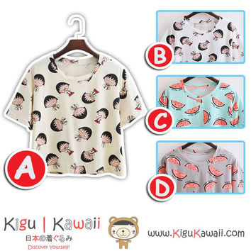 New Cartoon and Watermelon Printed Blouse Summer Stylish Loose Tshirt Korean Style Tops 4 Designs KK730