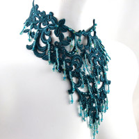 Teal Elaborate Bib Choker Necklace Beads and Lace - Prom, Masquerade, Mermaid Jewelry - Blue, Green - One of a kind