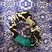 Black, White, and Teal Floral Scrunchie