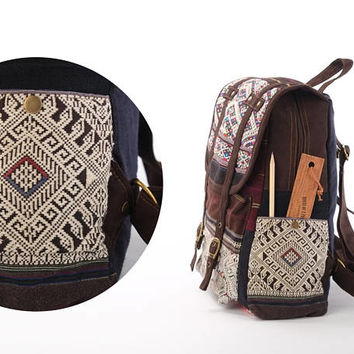 Elegant Woven Backpack Knapsack, Boutique Travel School Book Bag Boho Gypsy Purse
