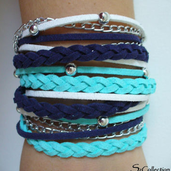 Blue Suede Cord Wrap Bracelet,With Silver Accents,Handmade Jewelry