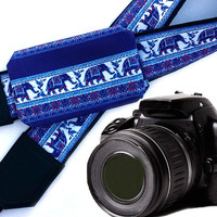 Camera Strap with pocket. Lucky Elephant Camera Strap. Camera accessories. Photographer gift. Dslr / Slr camera strap.