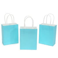 Small Candy Bags with Handles - Caribbean Blue: 24-Piece Pack