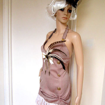 Steampunk dusty pink mini dress by blackmirrordesign on Etsy