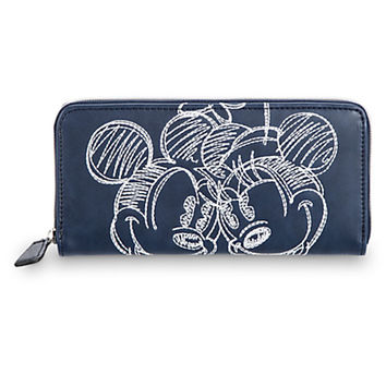 Disney Parks Mickey Minnie Mouse Embroidered Wallet Navy Boutique New