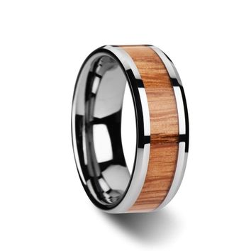 Red Oak Wood Inlaid Tungsten Carbide Wedding Ring With Beveled Edges 6mm-10mm