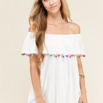Off the Shoulder Pom Pom Trim Tunic Knit Top - Off White