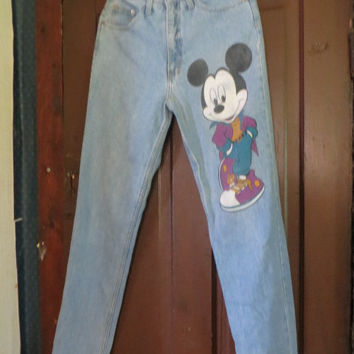 VINTAGE  hipster   1980S Walt disney  by Jerry LEIGH Mickey Mouse high  waist faded denim jeans  sz 7