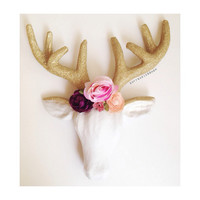 Glitter Floral Antlers, Faux Taxidermy, Deer Head, Reindeer Head, Antlers, Antler Decor, Holiday Decor, Office Decor, Unicorn.