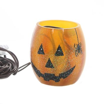 Stony Creek PUMPKIN LIGHTED GLASS JAR Glass Halloween Spider Hol7252