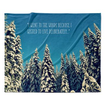 "Robin Dickinson ""I Went to the Woods"" Blue White Fleece Throw Blanket"