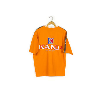 90s KANI SPORT USA jersey / deadstock vintage 1990s / new / hip hop / orange & yellow / big logo / karl / tupac / rap / biggie / colorblock