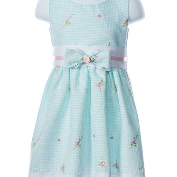 Swea´ Pea & Lilli Baby Girl Mint Embroidered Gingham Bow Waist Dress