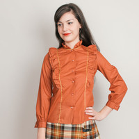 1970s Ruffle Blouse - Annabel - Vintage 70s Rust Orange Shirt with Metallic Gold - XS Petite