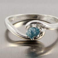 Blue Uncut Diamond Solitaire - Raw Rough Diamond Ring on Silver - Blue Diamond Engagement Ring, Swirl Design - Promise Ring