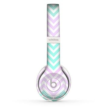 The Light Teal & Purple Sharp Chevron Skin Set for the Beats by Dre Solo 2 Wireless Headphones