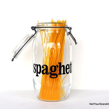 Vintage Spaghetti Glass Canister Jar 2 L Liter Typography
