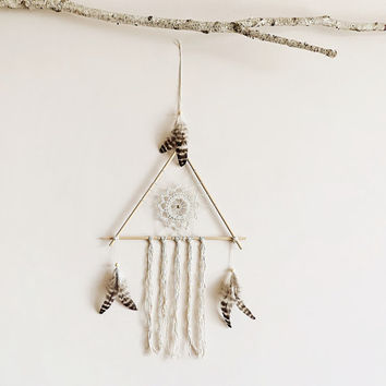 Dream catcher, large, boho dreamcatcher, triangle, wood, crochet doily, wall decor, neutral, hanging, handmade, room decor, american native
