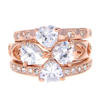Dear Deer Rose Gold Plated 3 Piece Clover CZ Ring Set
