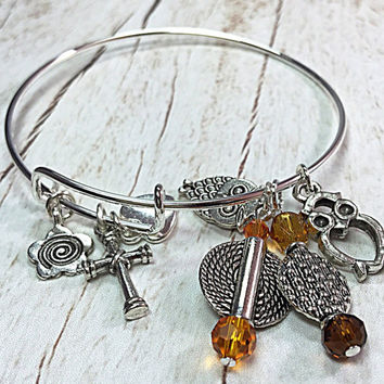 Adjustable Bracelet - Expandable Bracelet - Adjustable Bangle - Charm Bracelet - Boho Chic- Bohemian Jewelry TDC545