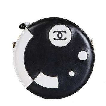 Chanel Circular Bag in Black and White Leather, 2003