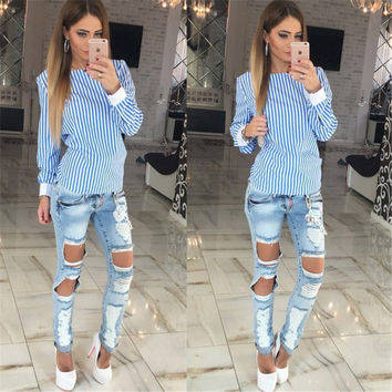 Women Blouses Shirts 2016 New Casual Long Sleeve Girls Summer Sexy Tops Backless Hollow Out Strip Female Shirts Bow Blusas