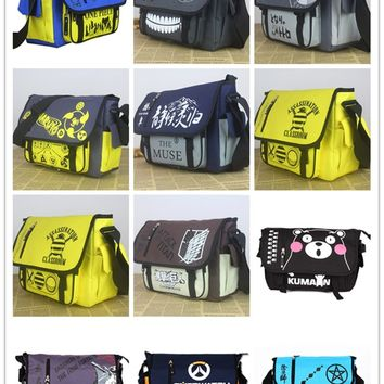 Anime Tokyo Ghoul/Totoro/Naruto/OPE PIECE/Time Raiders/Online Anime Action Figure Printed Canvas Shoulder Messenger Bag toy NEW