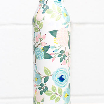 Stainless Steel Hot/Cold Floral Print 17 oz Bottle {Peach}