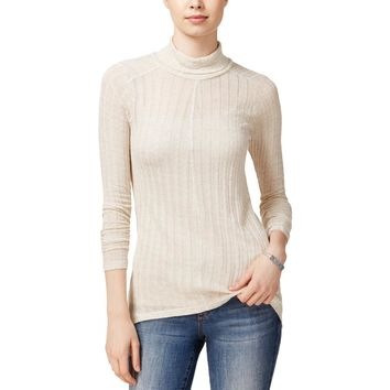 Lucky Brand Womens Linen Blend Hi-Low Turtleneck Top