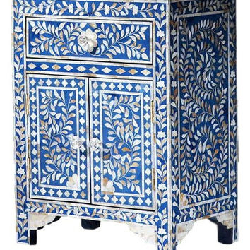 Bone Inlay Furniture - Blue Nightstand Side Table Floral Pattern | Free Shipping
