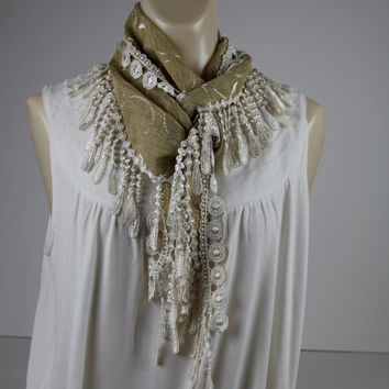 Long Scarf, Lace Scarf, Gold Scarf, Hip Scarf, Gift For Her, Summer Scarf, Fringe Scarf, Linen Scarf, Lace Scarves Travel Accessories