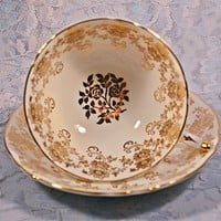 Paragon Teacup And Saucer, White With Gold Daisy And Rose Design, A-4482