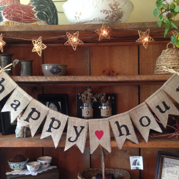 Happy Hour Bunting, Burlap Bunting, Wedding Bunting, Wedding Banner, Wedding Photo Prop, Bridal Shower, Country Wedding, Wedding Decor