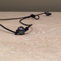 Single Tahitian Pearl and Leather Necklace
