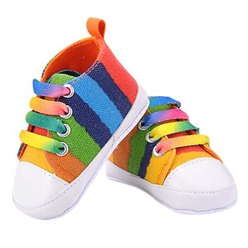 First Walkers Baby's  Rainbow Canvas Shoes Soft Prewalkers Infant Anti-Slip Baby Shoes