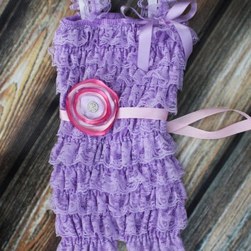 The Elaina Romper & Headband Pink and Lavender Cake by KutieTuties