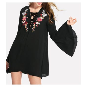 Black Lace Up Long Sleeve Embroidered Shift Dress