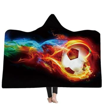 Football Printed Wearable Blanket Soft Plush Cloak with Cap Fleece Fabric Throw Blanket HD Printed Hooded Blanket Throw
