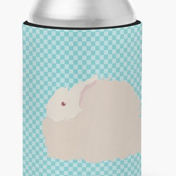 Fluffy Angora Rabbit Blue Check Can or Bottle Hugger BB8133CC