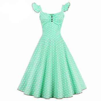 DCCKLG2 1950s Blue  Vintage Polka Dot Button Down Dress