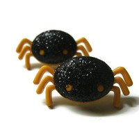 Halloween Spider Earrings. Black Glitter Coating. Nickel Free Gold Toned Posts.